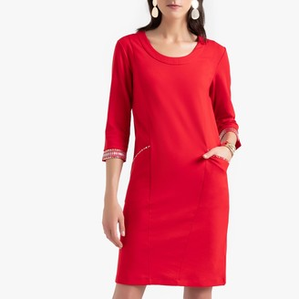 Anne Weyburn Milano Knit Shift Dress with Beaded Trim