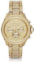 Michael Kors Wren Pav Gold-Tone Stainless Steel Chronograph Bracelet Watch