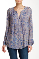 Lucky Brand Pintuck Pleat Paisley Blouse
