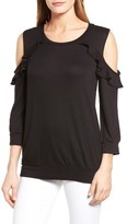 Bobeau Petite Women's Ruffle Cold Shoulder Sweatshirt