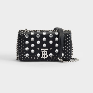 Burberry Lola Small Bag In Black Leather With Crystals