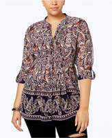 Style&Co. Style & Co Plus Size Mixed-Print Pintucked Blouse, Created for Macy's