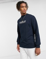 Parlez Haven long sleeved top with embroidered chest logo in navy