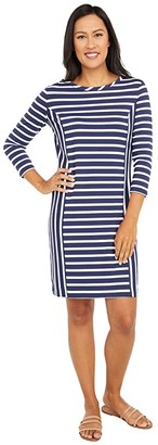 Southern Tide Pippa Striped Performance Dress (Classic White) Women's Clothing