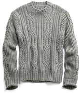 Todd Snyder Hand knit Italian Cable Sweater in Light Grey