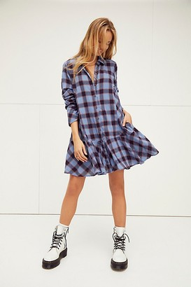 Free People All For You Plaid Shirt Dress