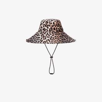 Ganni Brown Leopard Print Bucket Hat