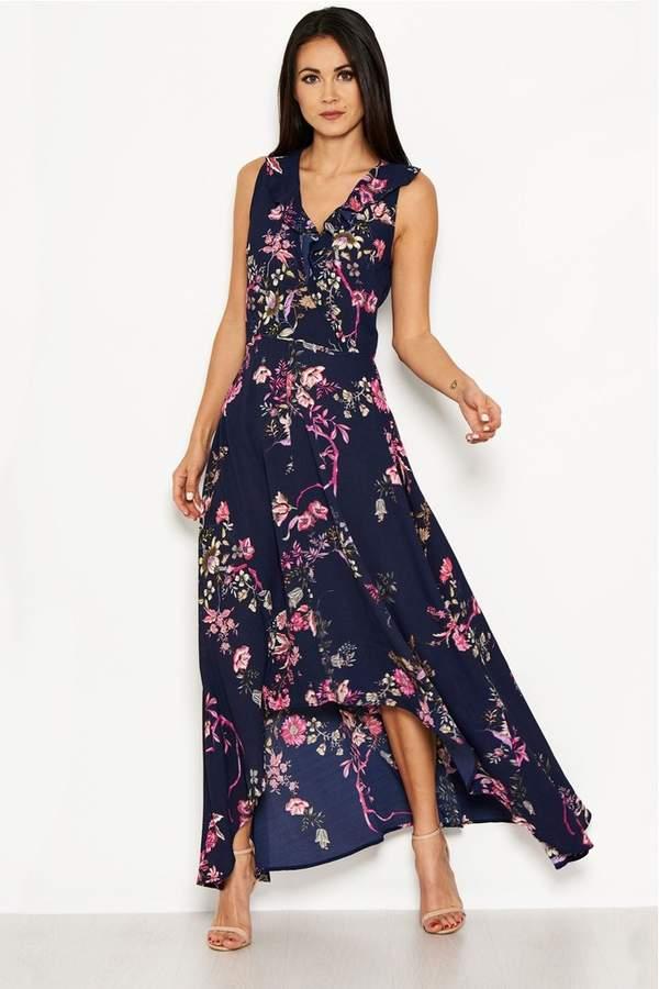3c3db9601c4 Womens Floral Dip Hem Maxi Dress - Blue