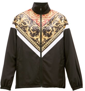 Versace Baroque-panel Zip-through Track Jacket - Mens - Black Multi