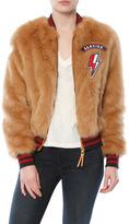 Mother The Letterman Patch Fur Jacket