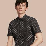 Burberry Short-sleeved Printed Cotton Linen Shirt
