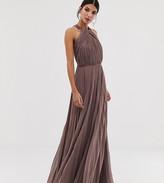 Asos DESIGN Tall pleated bodice halter maxi dress
