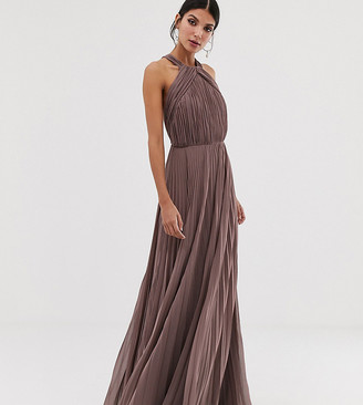 Asos Tall DESIGN Tall pleated bodice halter maxi dress-Pink