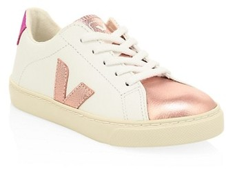 Veja Kid's Lace-Up Leather Sneakers
