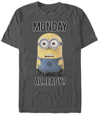 Fifth Sun Slim Monday Already? Mens Crew Neck Short Sleeve Minons Graphic T-Shirt