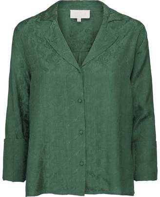 Minus - Green Krista shirt in jacquard patterned fabric - viscose | green | 38 - Green/Green