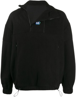 Ader Error Zipped Neck Fleece Sweatshirt