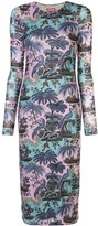 STAUD printed fitted midi dress