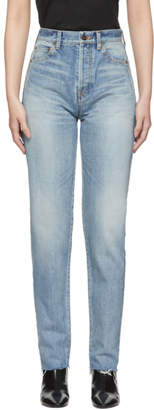 Saint Laurent Blue Bandana Raw Edge Slim Jeans