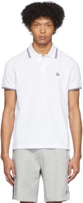 Moncler White Logo Patch Polo