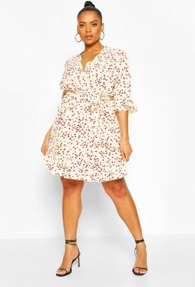 boohoo Plus Heart Printed Wrap Skater Dress