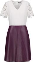 Raoul Nova lace-trimmed crepe and leather mini dress