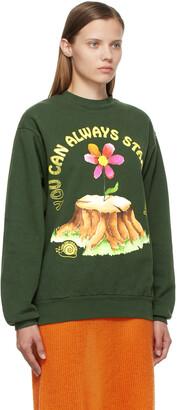 Online Ceramics SSENSE Exclusive Green 'You Can Always Start Over' Sweatshirt