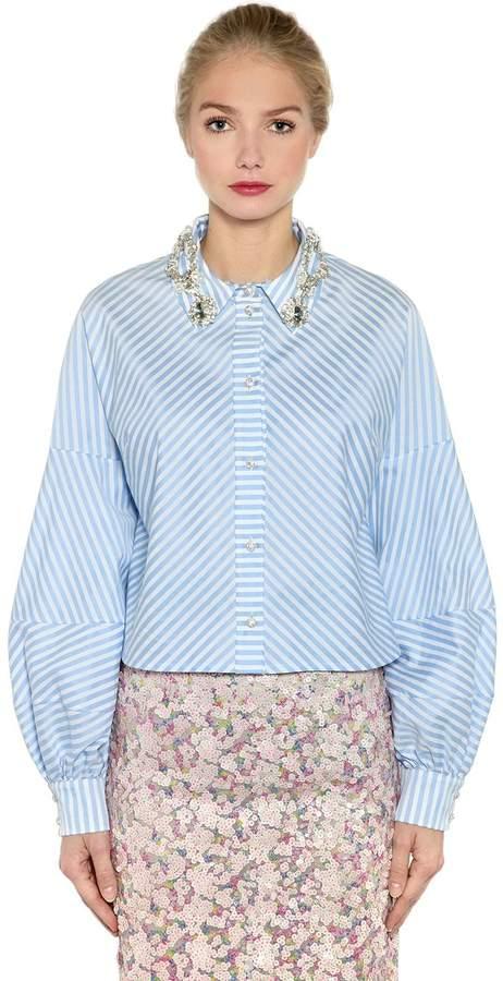 Antonio Marras Embellished Striped Cropped Cotton Shirt