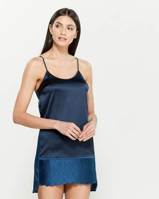Stella McCartney Dark Blue Annie Picnicking Silk-Blend Chemise