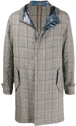 Emporio Armani Hooded Checked Print Coat