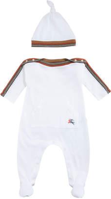 Burberry Abia Striped-Trim Footie Pajamas w/ Hat, Size 1-9 Months