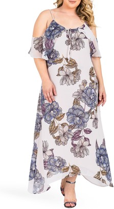 Standards & Practices Matilda Floral Cold Shoulder Chiffon Maxi Dress (Plus Size)