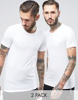 Boss Black By Hugo Boss Crew T-shirt 2 Pack In Slim Fit White