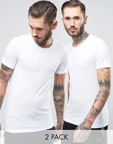 BOSS Black By Hugo Crew T-Shirt 2 Pack In Slim Fit White