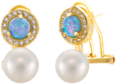 Bliss Pearl & Blue Opal Border Drop Earrings