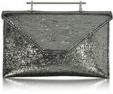 M2Malletier Annabelle Black Metallic Textured Fabric Clutch w/Chain