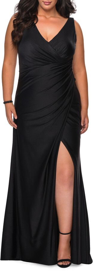 Thumbnail for your product : La Femme Ruched Jersey Trumpet Gown