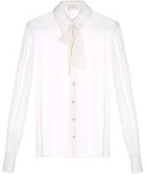 Saint Laurent Pussybow-neck crepe de Chine blouse