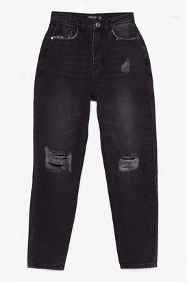 Nasty Gal Womens Raw You Dancin' Distressed Mom Jeans - Black - 6
