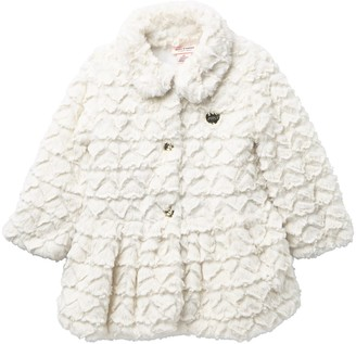 Juicy Couture Vanilla Embossed Heart Faux Fur Jacket (Toddler Girls)