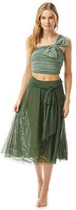 Carmen Marc Valvo Bowline Soiree Mesh Swing Skirt Double Layer with Sash Tie (Sage) Women's Swimwear