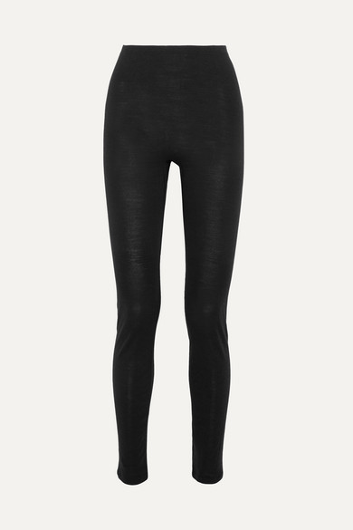 Thumbnail for your product : Hanro Merino Wool And Silk-blend Jersey Leggings - Black