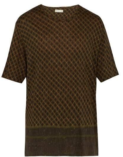 Etro Linen T Shirt - Mens - Green Multi