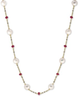 """Effy Cultured Freshwater Pearl (8mm) & Ruby (3-1/3 ct. t.w.) 18"""" Statement Necklace in 14k Gold (Also in Sapphire)"""