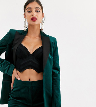 Asos Tall DESIGN Tall velvet tux suit blazer-Green