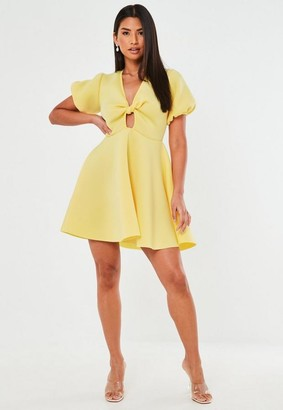 Missguided Knot Front Puff Sleeve Skater Dress