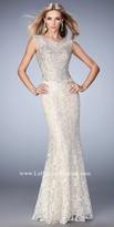 La Femme Loraine Lace Overlay Prom Dress