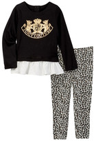 Juicy Couture Scottie Dog Ruffle Bottom Tunic & Leopard Print Pant Set (Little Girls)
