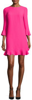 Kate Spade 3/4-Sleeve Crepe Flounce Dress, Pink