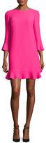 Kate Spade 3/4-Sleeve Crepe Flounce Dress, Pink